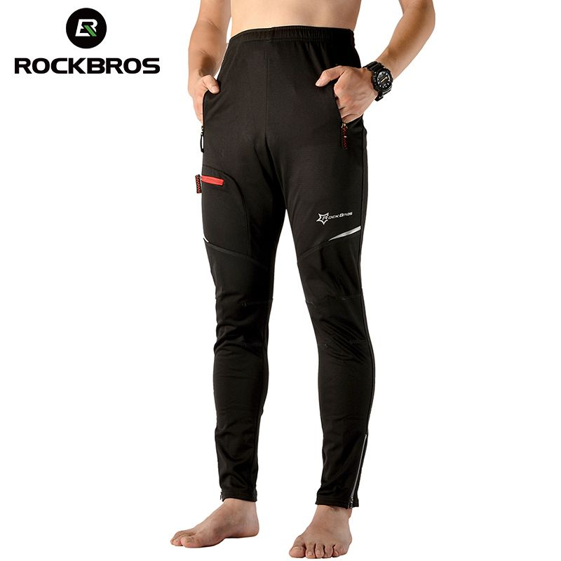 ROCKBROS Autumn Winter Windproof Thermal Cycling Bike Pants Cycling Clothing Tights Trousers Bicycle Pants Bike Equipment Black