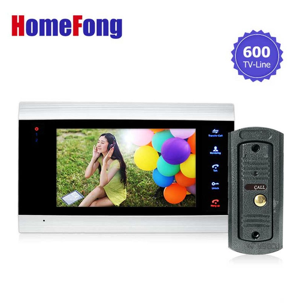 Homefong 7 Inch Color LCD Video Door Phone Intercom System Door Release Unlock Color Doorbell Camera 600TVL Night <font><b>Vision</b></font>