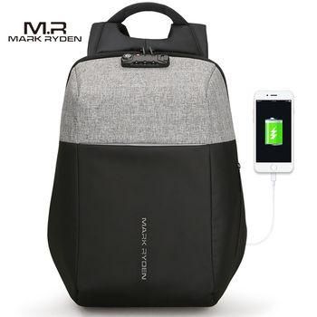Markryden nuevo USB anti-recarga portátil mochila duro Conchas no clave TSA Lock diseño hombres mochila mochila