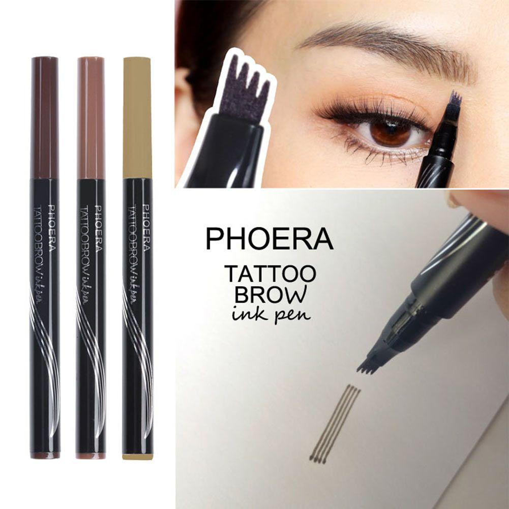 Professional Women Tattoo Eyebrow Pencil Waterproof Long lasting Fork Tip Microblading Makeup Ink Sketch Eye Brow Pen HJL2018