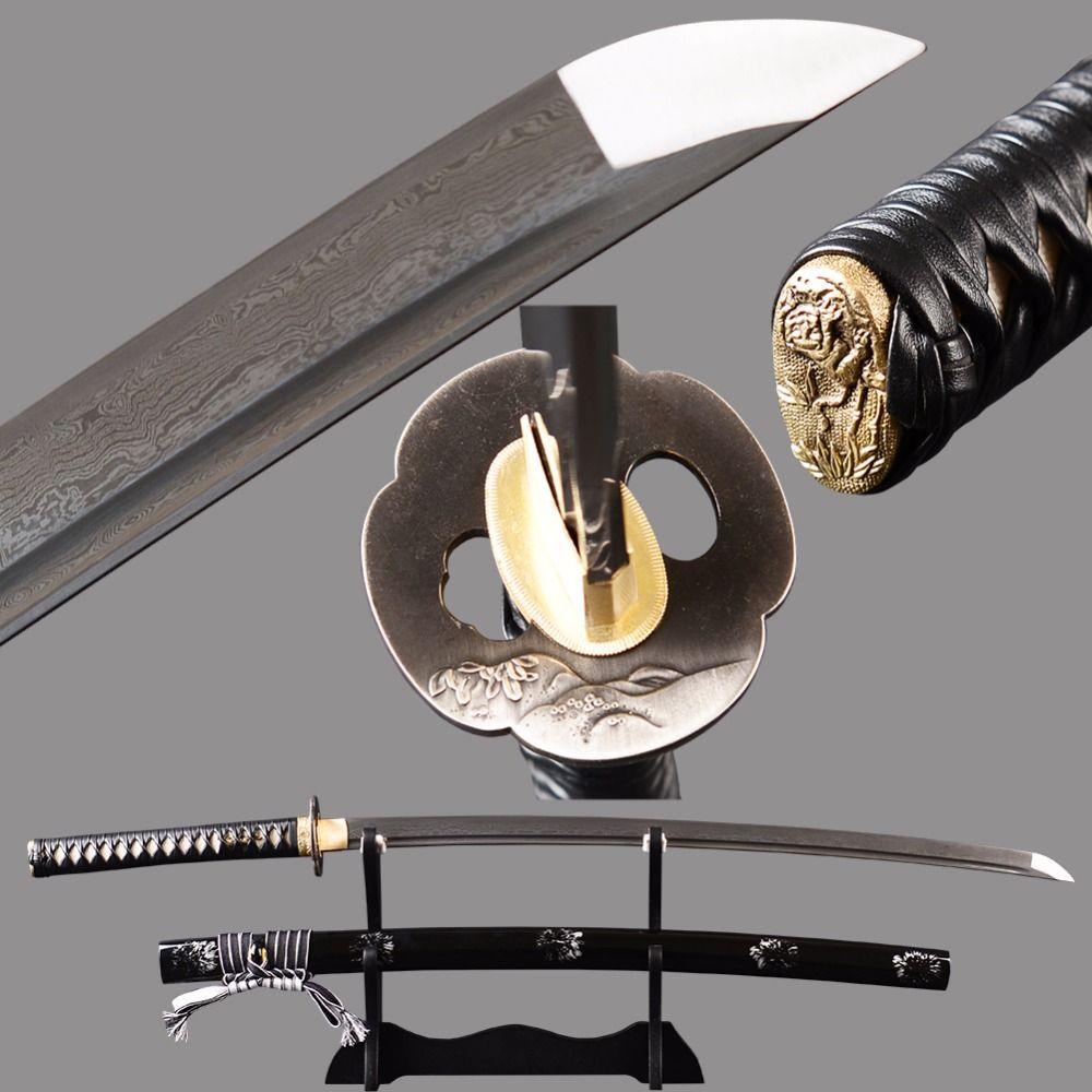 Handmade real Sharp Japanese Samurai Katana Full Tang Long Sword Damascus Folded Steel Espadas Katana Battle Ready Home Display