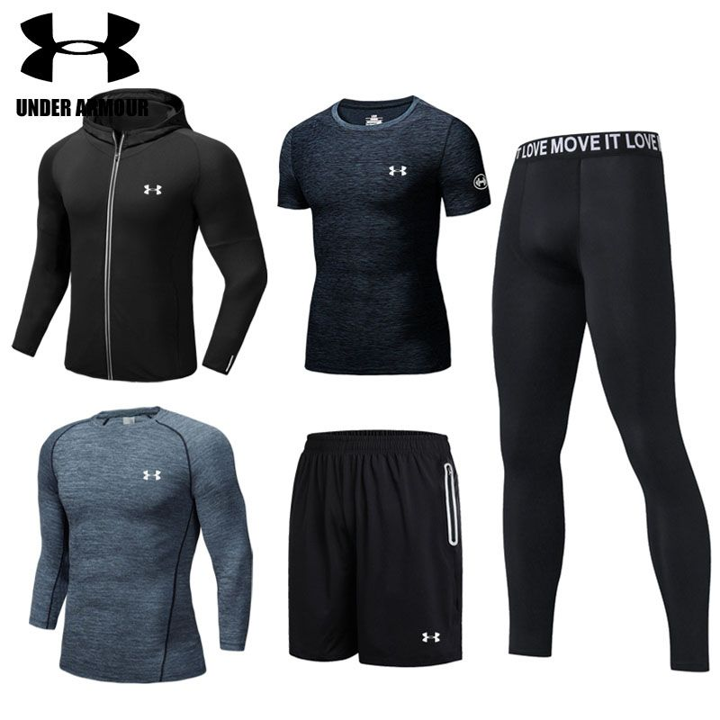 Under Armour Men sports suit Gym clothing jogging training workout clothes 2-5 pieces quick dry exercise jackets high quality