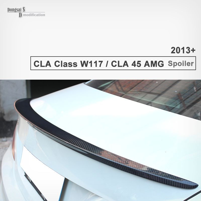 Mercedes CLA Class W117 CLA45 AMG Look Gloss black Genuine Carbon Fiber Rear Trunk Spoiler for CLA200 2013 2014 2015 2016