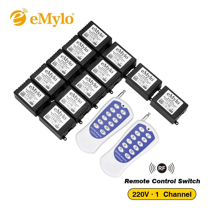 eMylo Smart Wireless Remote Control Light Switch AC220V 1000W White&Blue Transmitter 12X 1 Channel Relays 433Mhz Toggle Latched