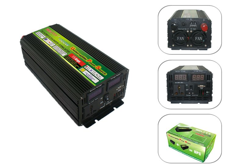 Free shipping cost DC24V to AC 220V 1500Watt UPS Inverter With AC Charger LCD Display
