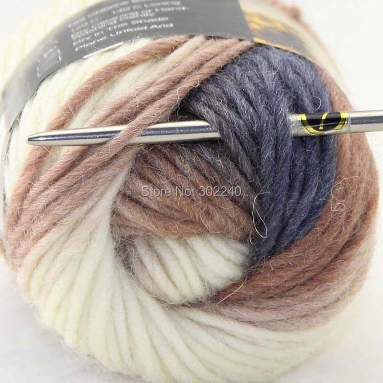 Lot of 1 skeins x 50g Chunky Hand Coarse Knitting Scores wool yarn Dark Bronze White Cool Grey 832