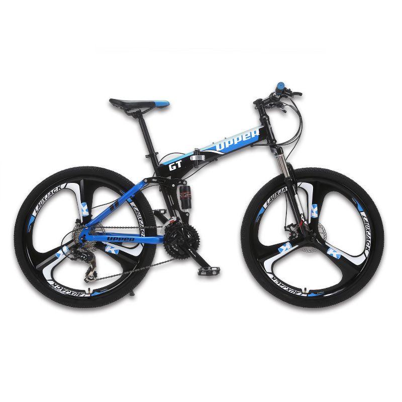 UPPER Mountain bike two-suspension system steel folding frame 24 speed Shimano mechanical brake discs alloy wheels