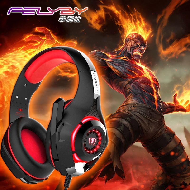 New gaming headphones for a mobile phone PS4/PSP/PC 3.5mm Wired Headphone with Microphone LED Lamp <font><b>Noise</b></font> Canceling Earphone