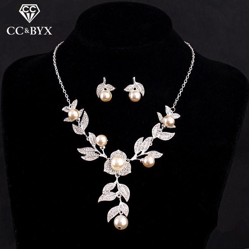 Jolis ensembles de bijoux Design Simple pour couple belle perle rose et cristal collier boucles d'oreilles ensembles pour femmes Chic accessoire D005
