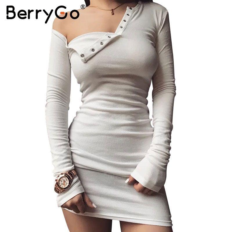 BerryGo Elegante de un hombro vestido ajustado Delgado vestido de manga larga noche del partido del club blanco Mujeres otoño invierno negro vestido sexy