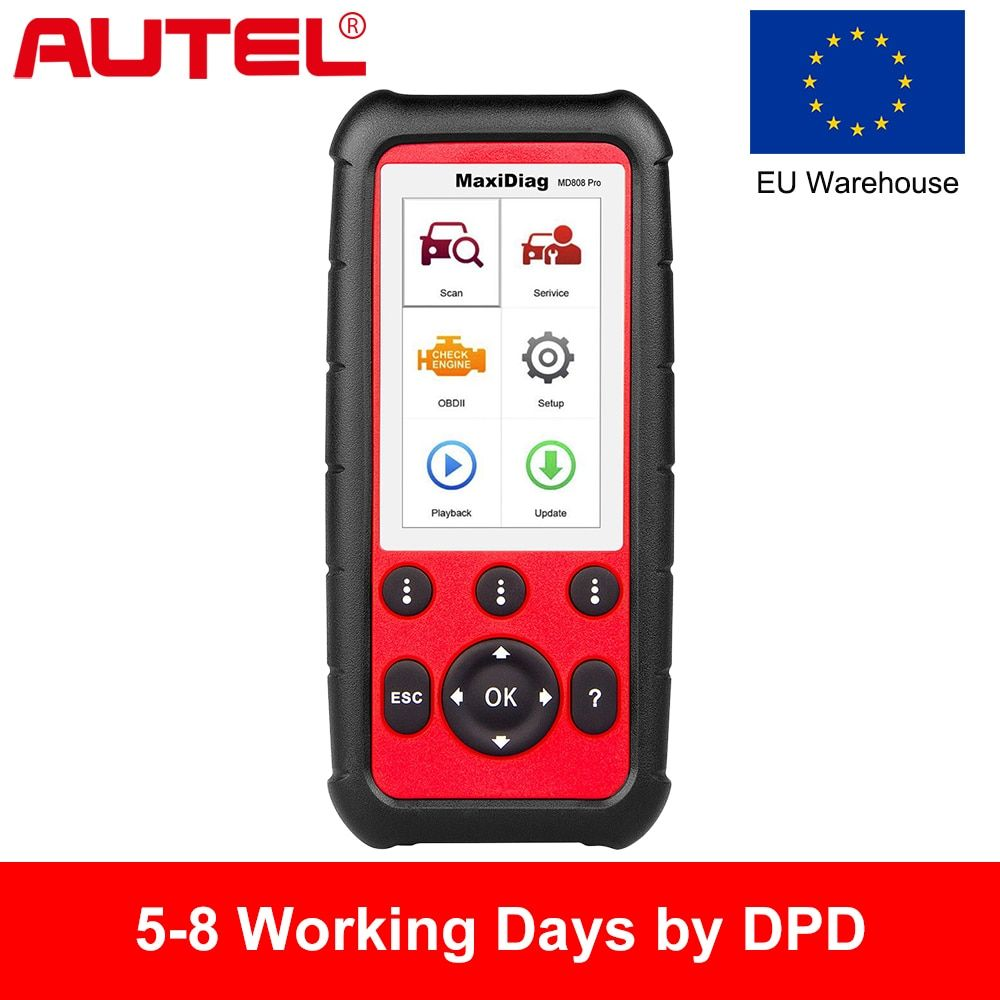 EU Warehouse, Autel MD808 PRO OBD2 Car Diagnostic Tool for Engine, Transmission, SRS and ABS with EPB, Oil Reset, DPF, SAS,BMS