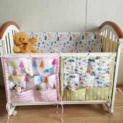 Kartun Cetak Tempat Tidur Gantungan Penyimpanan Tas Bayi Crib Tempat Tidur Merek Bayi Katun Crib Organizer 54*59 Cm Mainan Popok saku untuk Crib Tempat Tidur Set