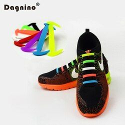 DAGNINO 12Pc/Set Fashion Unisex Women Men Athletic Running No Tie Silicone Shoelaces Elastic Shoe Lace All Sneakers Fit Strap