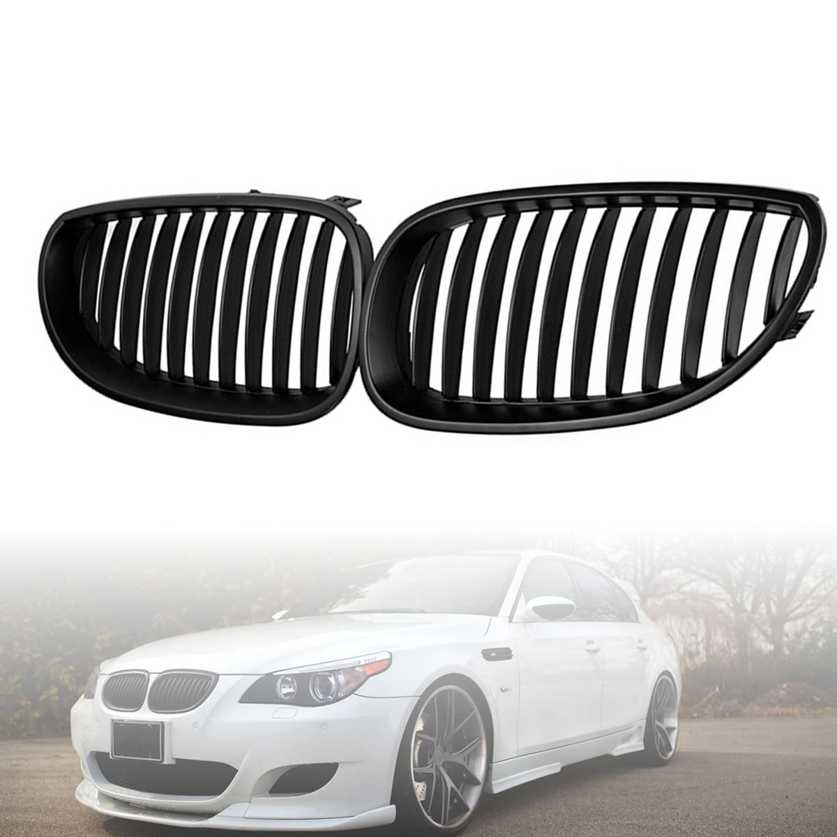 2pcs Front Black Sport Wide Kidney Grille Grill For BMW E60 E61 5 Series M5 2003-2009