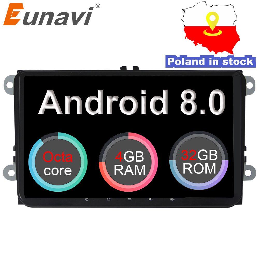 Eunavi 2 Din 9 ''Android 8.0 4G RAM Auto Radio Stereo GPS Navi Für VW Passat B6 CC Polo GOLF 5 6 Touran Jetta Tiguan Magotan Sitz