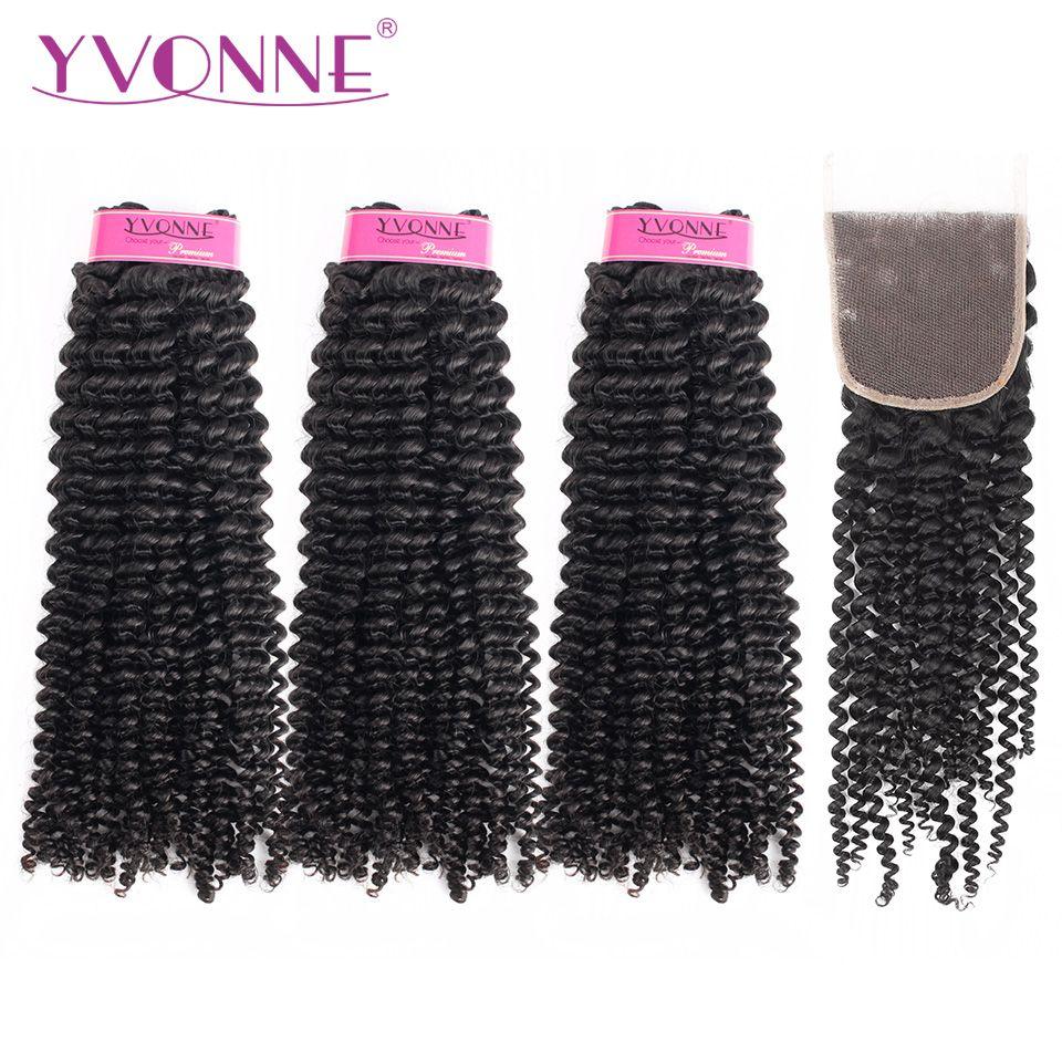 Yvonne Kinky Curly Virgin Human Hair Bundles With Closure 3Pcs Natural Color Brazilian Hair Weave Bundles With Closure 4x4