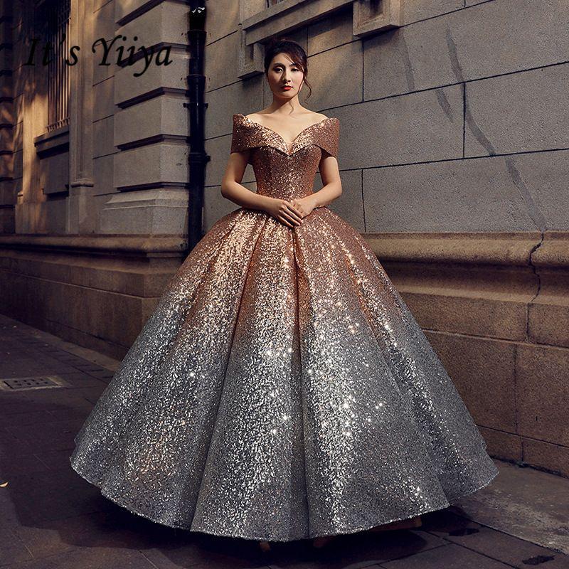 Es der Yiiya 5 Farben Bling Pailletten Abendkleider Boot-ausschnitt Bodenlangen Party Kleid Luxus Abendkleider Prom Kleid LX693