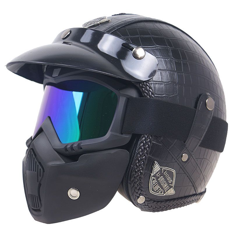 Fashion PU Leather Harley Helmets 3/4 Motorcycle Chopper <font><b>Bike</b></font> helmet open face vintage motorcycle helmet with goggle mask