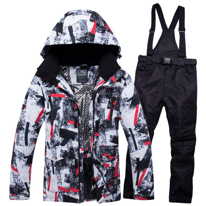 2019 RIVIYELE Männer Ski Anzug Snowboard Jacke Hose Winddicht Wasserdichte Winter Kleidung Super Warme Kleidung Hosen Männlichen Verdicken