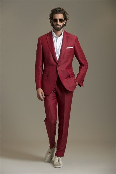 Italian Style Burgundy Groom Tuxedos Slim Fit Mens Wedding Prom Party Suits Casual Man Suit Bridegroom Wear(Jacket+Pants)terno
