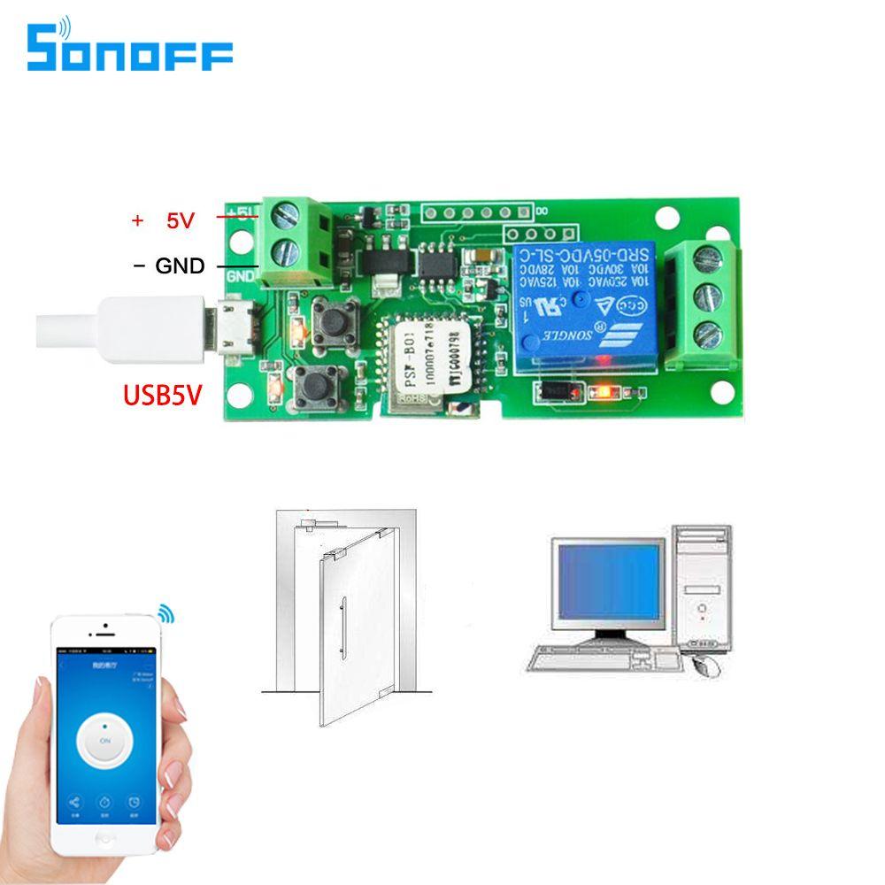 Sonoff DC5V 12 v 24 v 32 v wifi commutateur sans fil Relais module Smart domotique pour contrôle d'accès systemr Inching/Auto-Verrouillage