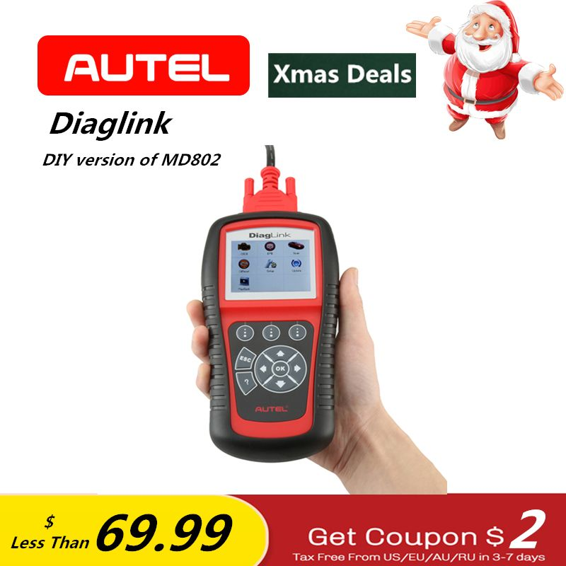 AUTEL Diaglink OBD2 EOBD Automative Diagnostic Tool OLS EPB ABS Oil All System Scanner Code Reader ELM327 as Gift Same as MD802