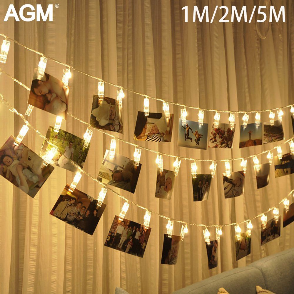 10 20 40 LED Garland Card Photo Clip Led String Fairy Lights Battery Operated Christmas Garlands Wedding New Year Decoration