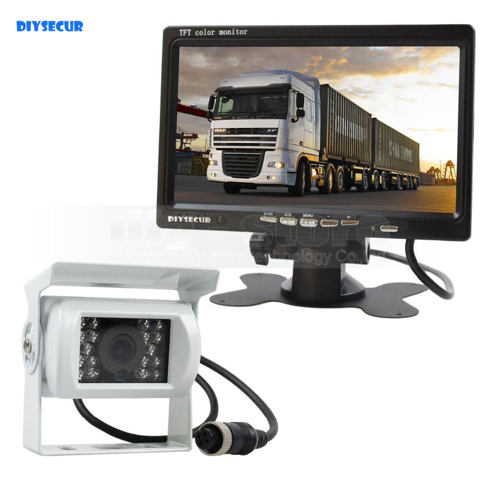 DIYSECUR DC 12V-24V 7 inch TFT LCD Car Monitor + White 4pin IR Night Vision CCD Rear View Camera for Bus Houseboat Truck