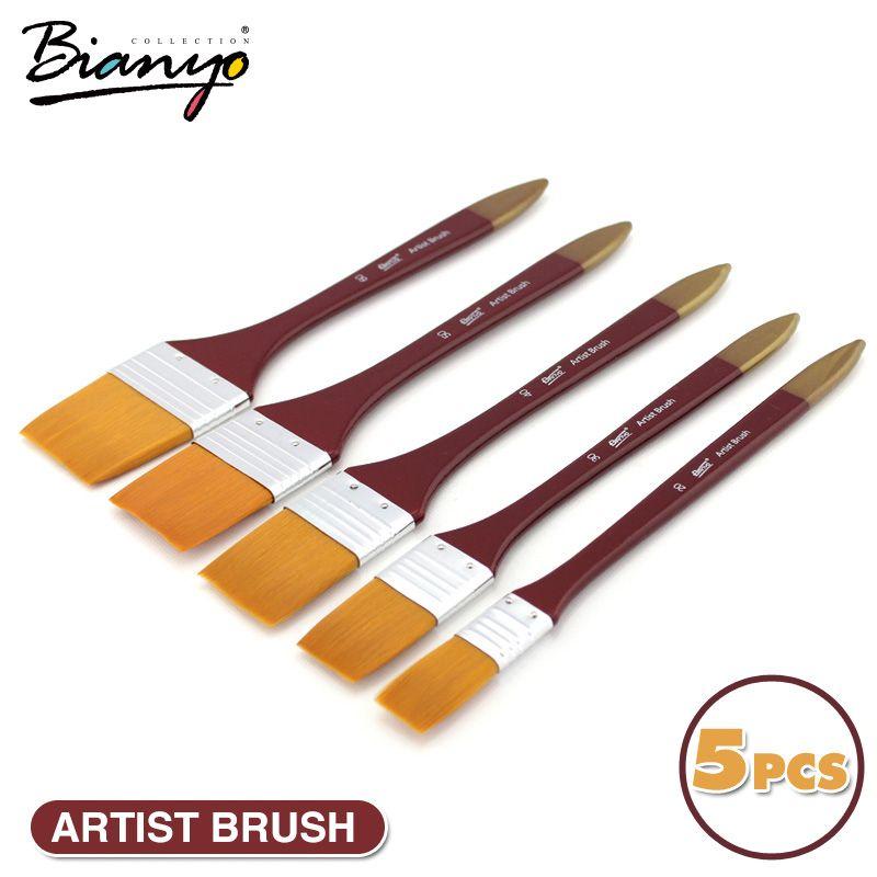 Bianyo 5 Pcs Pinceaux Acrylique DIY Graffiti Brosse Ensemble Pour Artiste Huile Brosse École Dessin Peinture Papeterie Fournitures