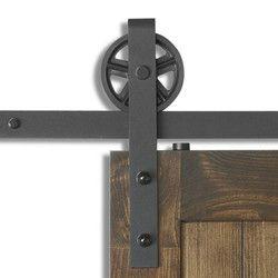 (USA Livraison gratuite) 4-8FT DIY Vintage Sangle Industrielle Super Grande Roue Coulissante Grange Quincaillerie de Porte En Bois Piste Rouleau Kit