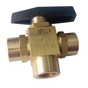 Laiton 3 Way Ball Valve 1/4