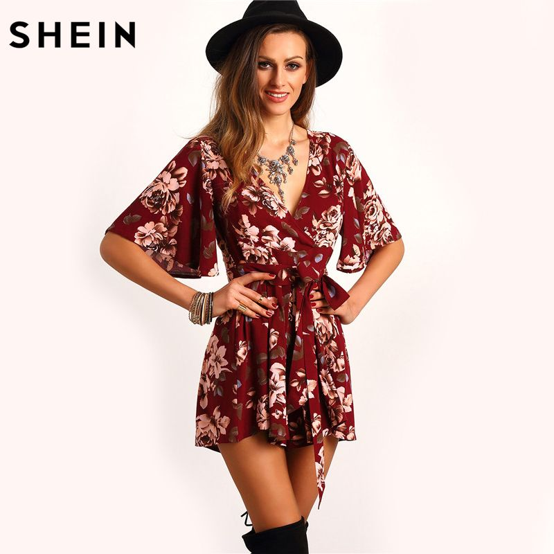 SHEIN Shorts Rompers Womens Jumpsuits Summer Ladies Red Sexy Deep V Neck Short Sleeve Floral Tie Waist Casual Jumpsuit