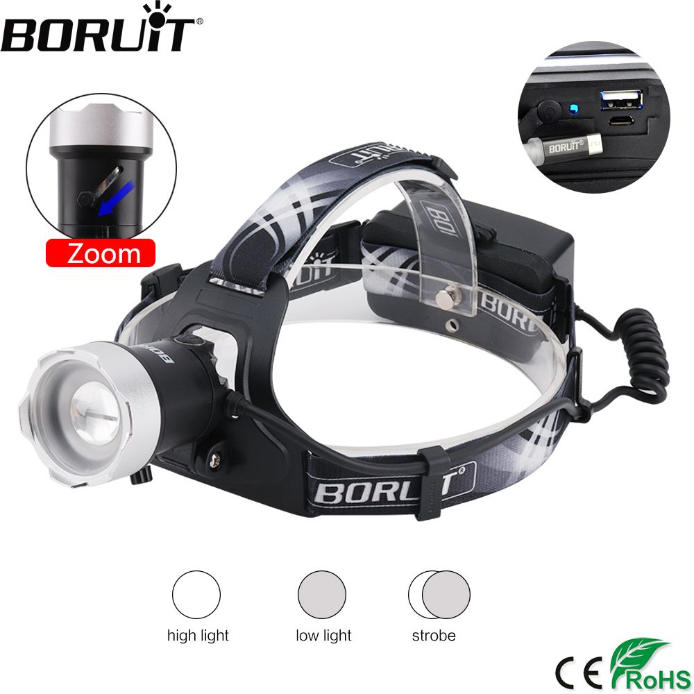 BORUiT B13 1200LM XM-L2 LED Headlight 3-Mode Zoomable Headlamp USB Charger Power Bank Head Torch Fishing Hunting Flasglight