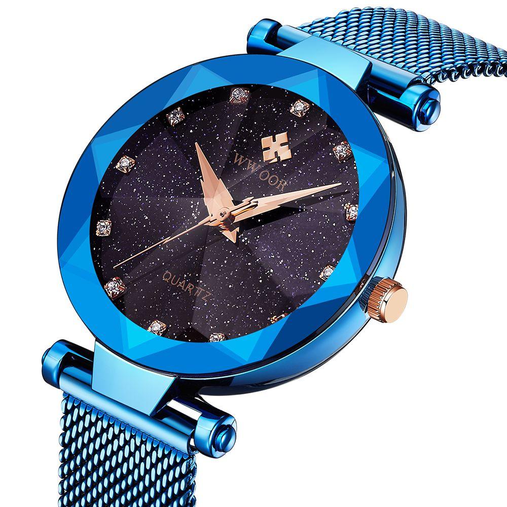 2019 New Style Brand Wwoor Women's Watches Starry Unique Design Rhinestone Blue Ultra-thin Dial Rose Gold Ladies Quartz Watch