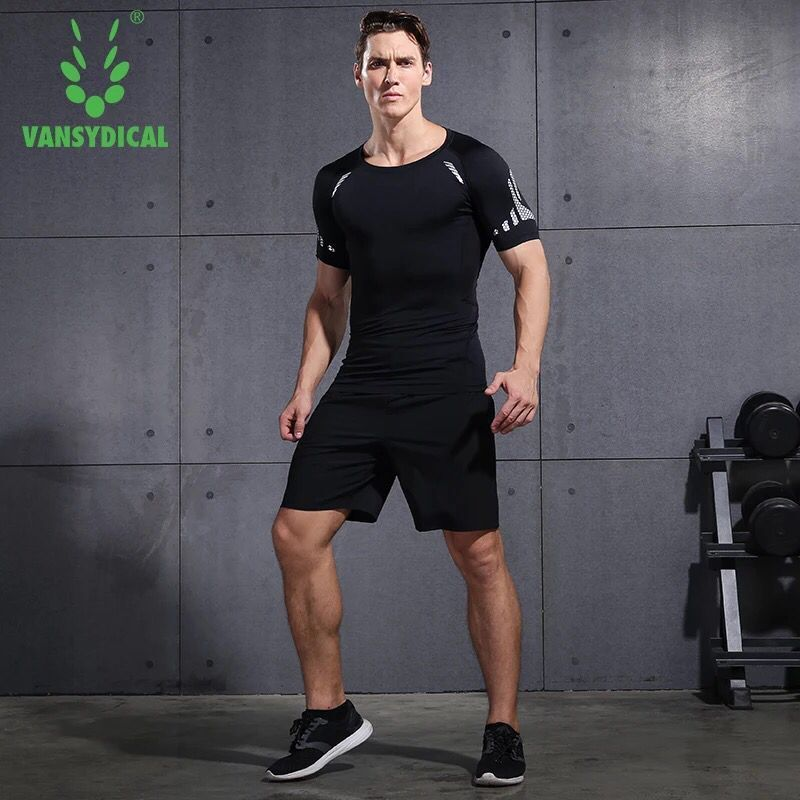 Vansydical 2PCS Running Sets Men's Sportswear Compression Clothes Fitness Basketball Soccer Gym Clothing Summer Men Sports Suits