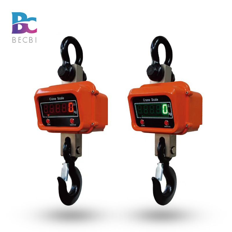 BECBI 3000Kg/1Kg Industrial Hanging Scale Digital OCS Weight Scale Precision Red LED Crane Scale 3ton Aluminum Case Rechargeable