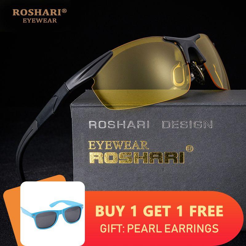 RoShari hommes lunettes de soleil polarisées Vision nocturne marque Designer vintage jaune conduite lunettes de soleil hommes gafas lentes de sol hombre