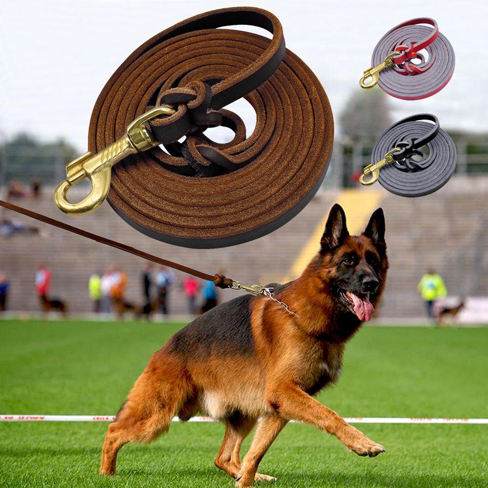 Laisse de chien en cuir pour animaux de compagnie entraînement de marche chien plomb course laisses ceinture pour chiens de taille moyenne berger allemand K9 1.5 m/2.5 m Long