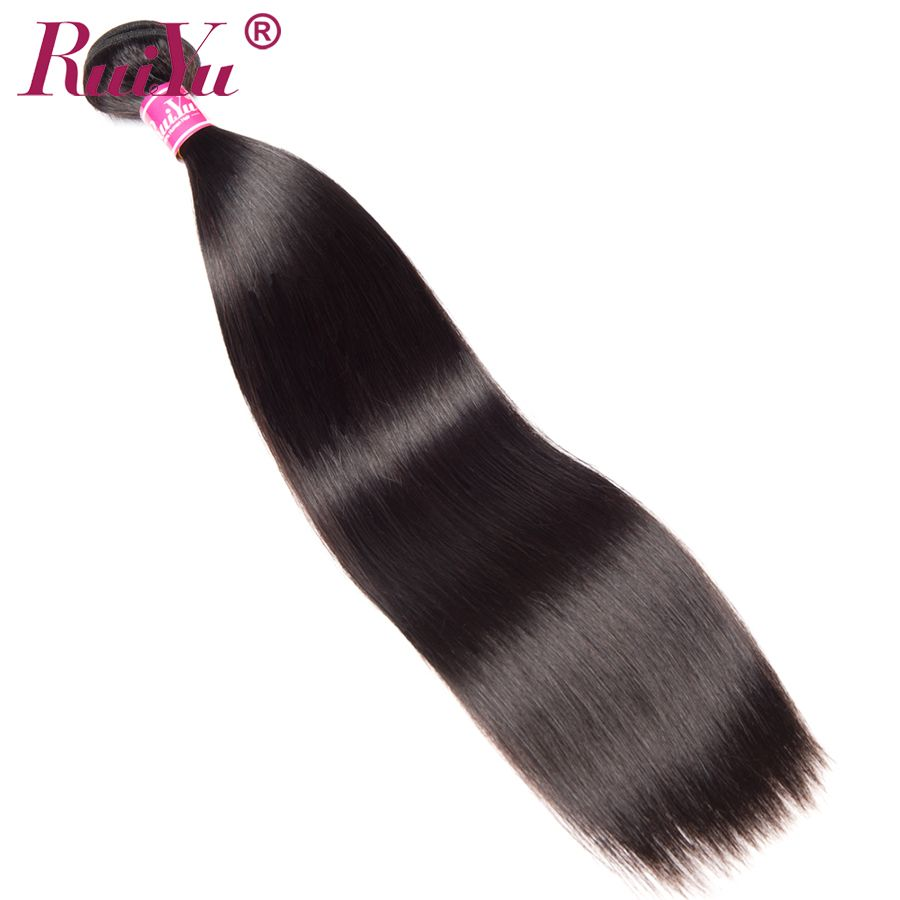 RUIYU Hair Brazilian Straight Hair Weave Bundles 100% <font><b>Human</b></font> Hair Extensions 1 pc Non Remy Hair Bundles Natural Color 10-28