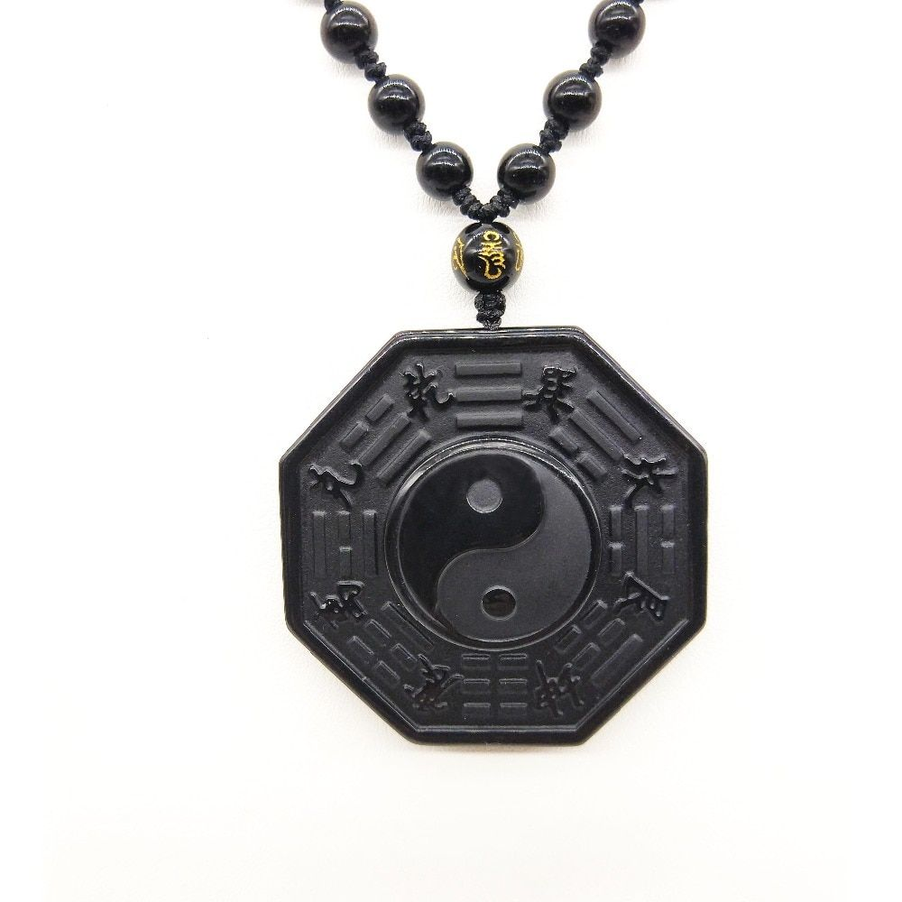 Drop Shipping Black Obsidian Necklace Pendant Chinese BAGUA Men's Jewelry Women's Jewelry