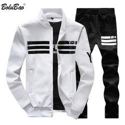 BOLUBAO New Autumn Men Set Quality Fleece Sweatshirt + Pants Male Tracksuit Sporting Sweat Suits Mens Survetement Sportswear