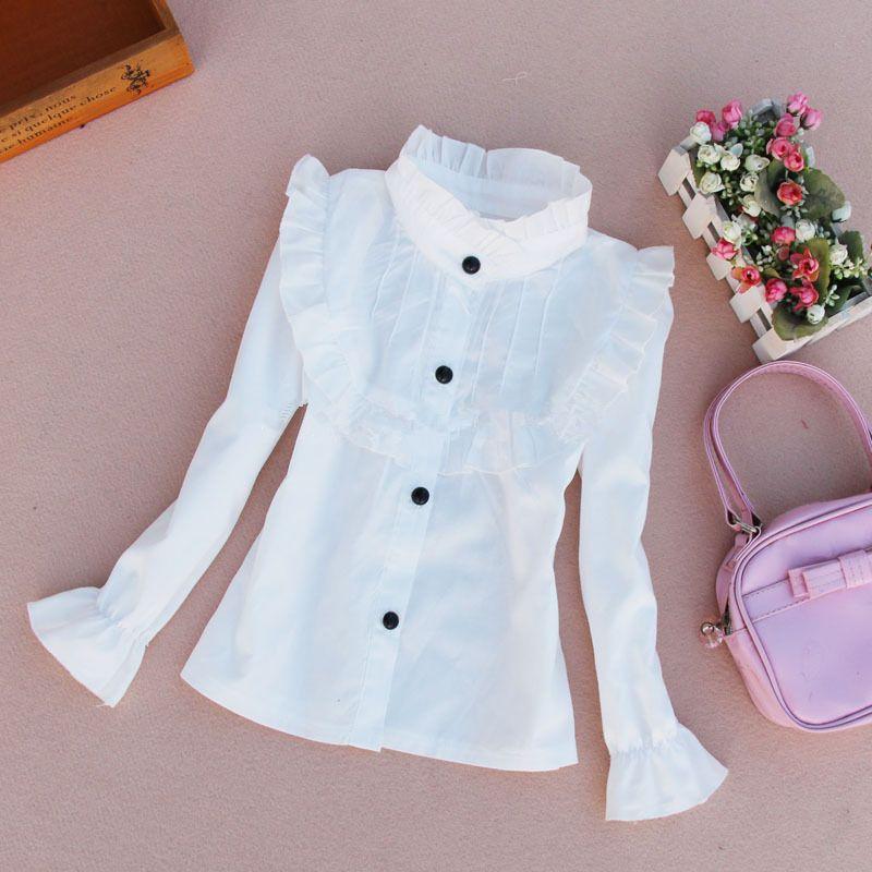 Рубашки для мальчиков для Обувь для девочек Хлопковая блузка 2017 повседневная детская одежда белые блузки для девочек Рубашка с длинными ру...