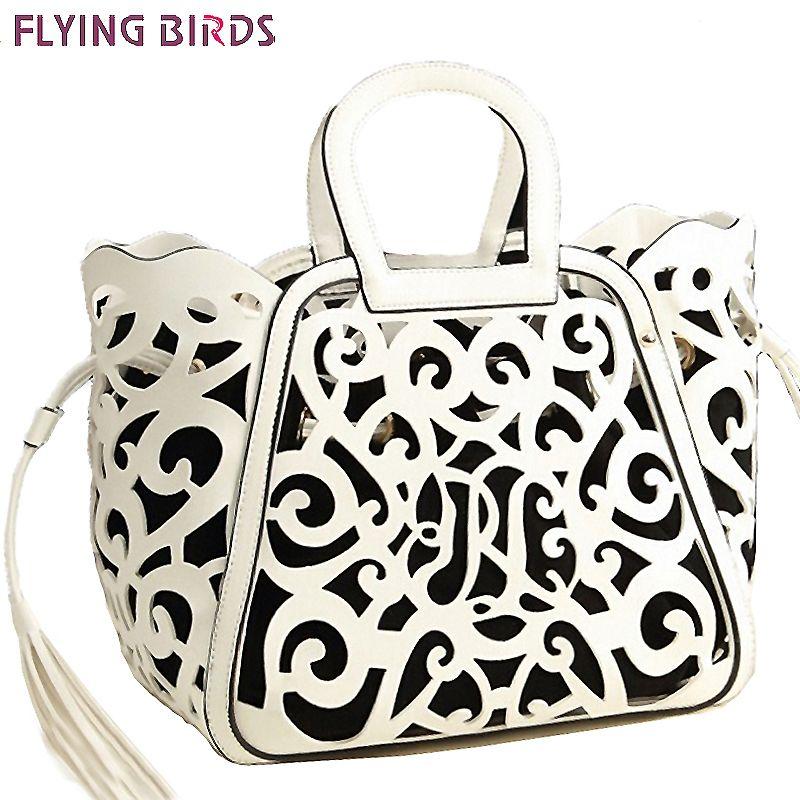 FLYING BIRDS Famous Brand Women Leather Handbag Designer Messenger Bags Women Shoulder Bag Hollow Out Tote Tassel Bolsas LS5024