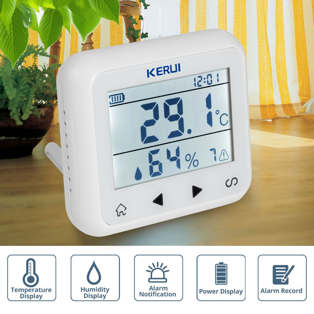 KERUI TD32 LED Display Adjustable Temperature And Humidity Alarm Sensor <font><b>Detector</b></font> Alarm Protect the personal and property