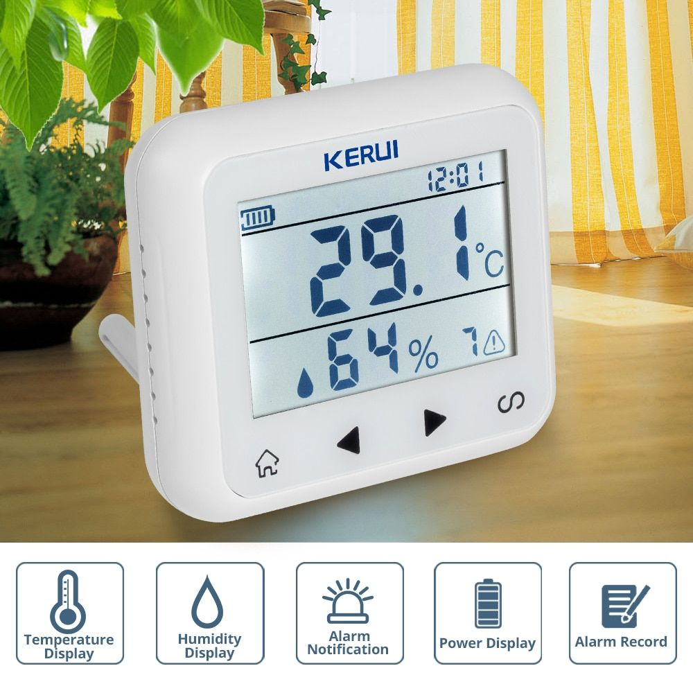 KERUI TD32 LED Display Adjustable Temperature And Humidity Alarm Sensor Detector Alarm Protect the personal and property