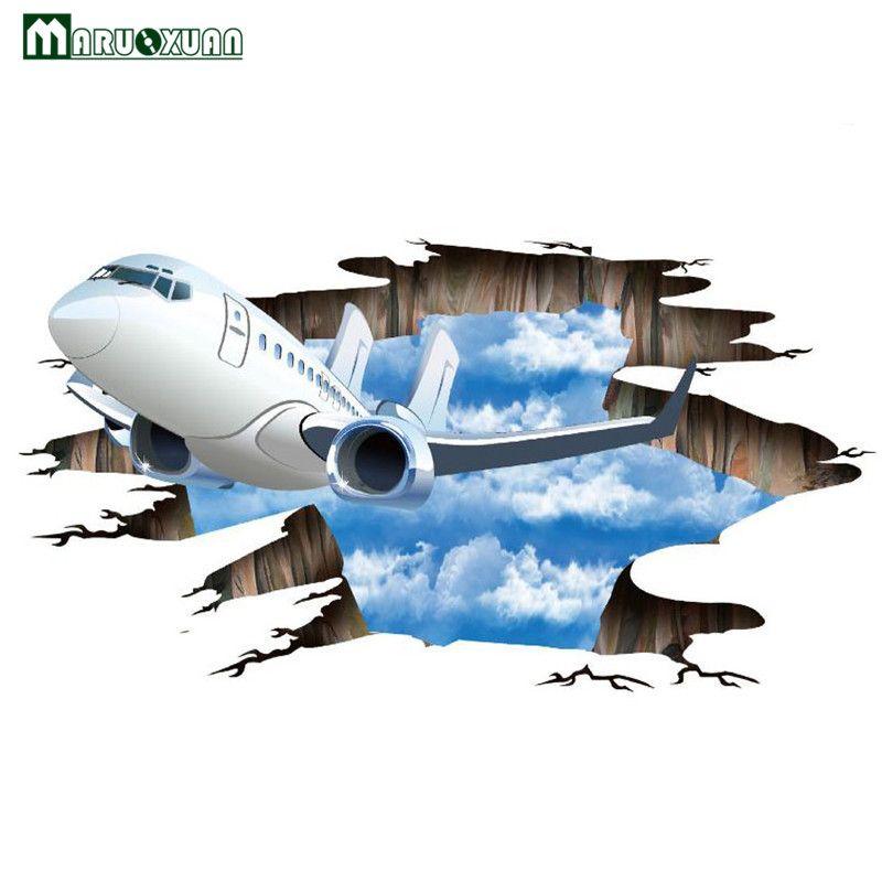 Maruoxuan 3D Ciel Avion Stickers Muraux Amovible Vinyle Murale Décoration Murale Pour Salon Chaussée Fond Décoration Papier Peint