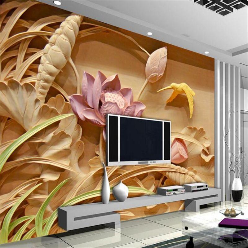 Beibehang пользовательские обои рельеф дерева Вырезка лотоса росписи ТВ Задний план 3d обои Задний план обои для стен 3 D