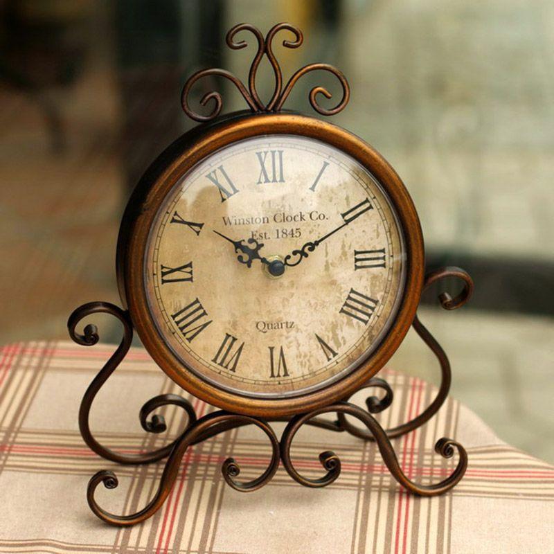 Horloge de bureau en métal vintage avec mouvement d'horloge silencieux artisanat décoration de la maison shabby chic montre de maison relogio de mesa horloge 17