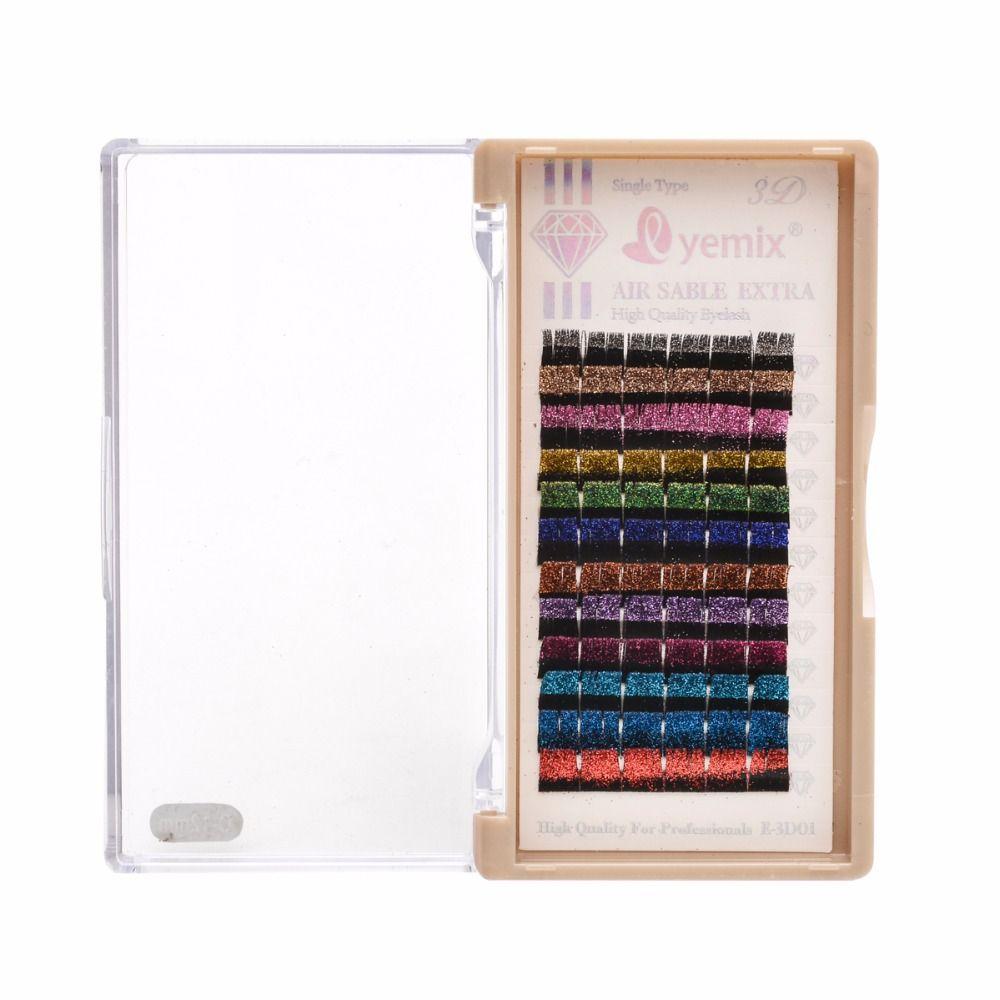 EYEMIX Extension de cils paillettes individuelles 12 couleurs/plateau mélange maquillage faux cils fête Sequin faux cils mariée