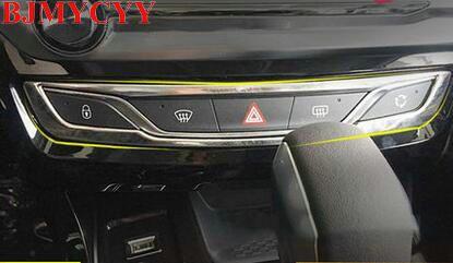 BJMYCYY bouton de commande central cadre décoratif défaut lumières désembuage bouton garniture adapté pour 2016 Peugeot 308 voiture style